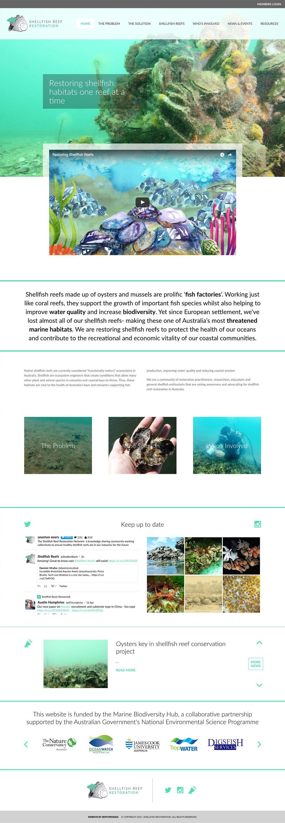 Shellfish Reef Restoration website by Zephyrmedia